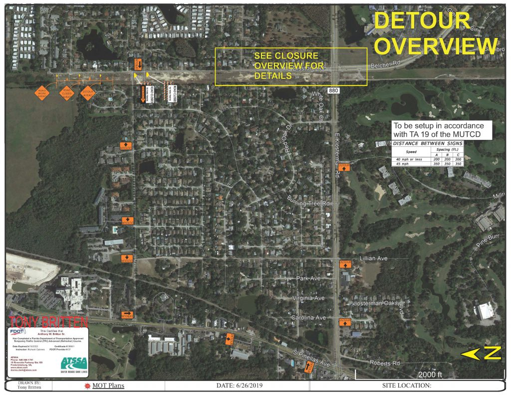 Disston Avenue Detour Route to Pinellas Ave